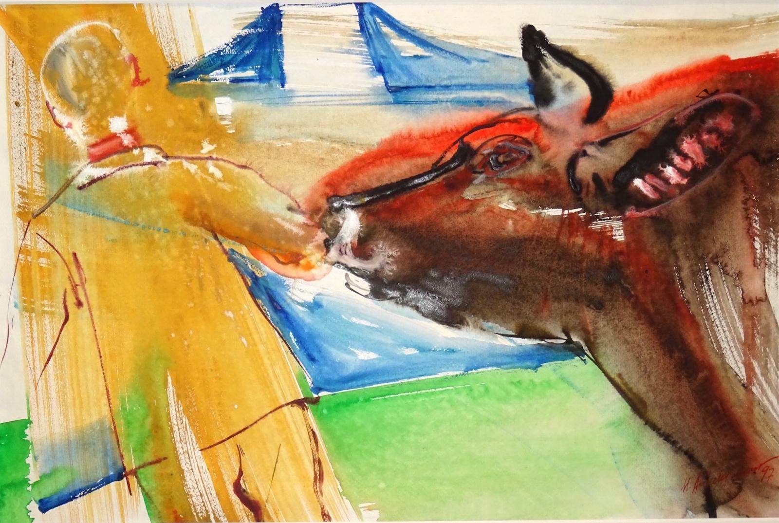 Bauer führt Stier am Zuger Stierenmarkt